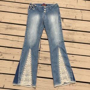 90's Dollhouse Crochet Insert Boho Jeans